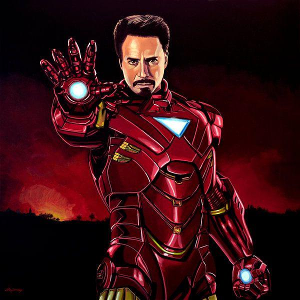 Robert Downey Jr. als  Iron Man schilderij van Paul Meijering