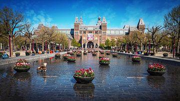 La Museumplein à Amsterdam pendant la société du 1,5 mètre. sur Bart Ros