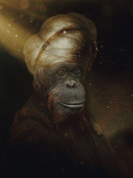 Orang-oetan in oosterse kleding van Ron Meijer Photo-Art
