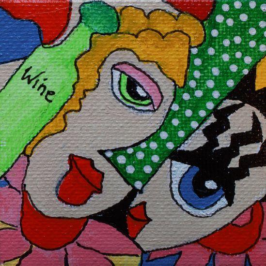 Wijn en vriendschap mini-canvas van Angelique van 't Riet