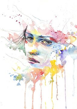 Gezicht van een vrouw in waterverf van Atelier Liesjes