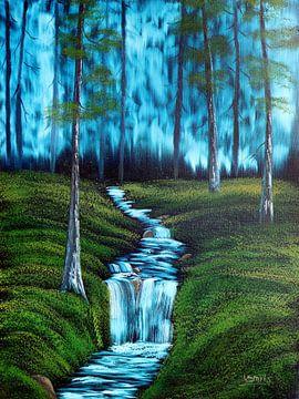 Waterval in het bos van Yvonne Smits