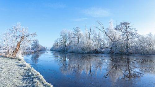 Winter Nienoordsche polder  Leek; de waterkant met rijp