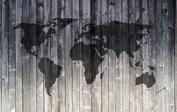 Wereldkaart op Houten planken