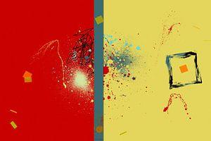 Abstrait rouge jaune sur