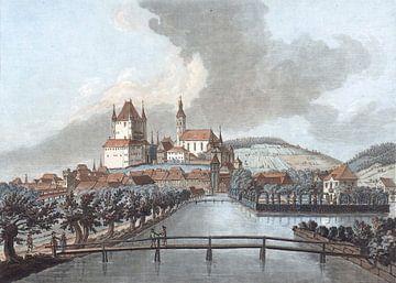 zicht op Thun vanaf Zuid, Jean François Janinet, 1762 - 1785 van Atelier Liesjes