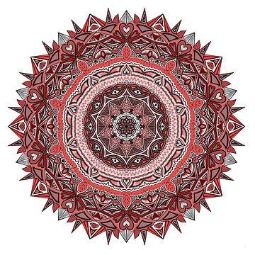 Mandala in rode tinten van Andie Daleboudt
