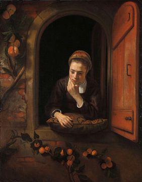 Meisje aan het venster, bekend als 'De peinzende', Nicolaes Maes