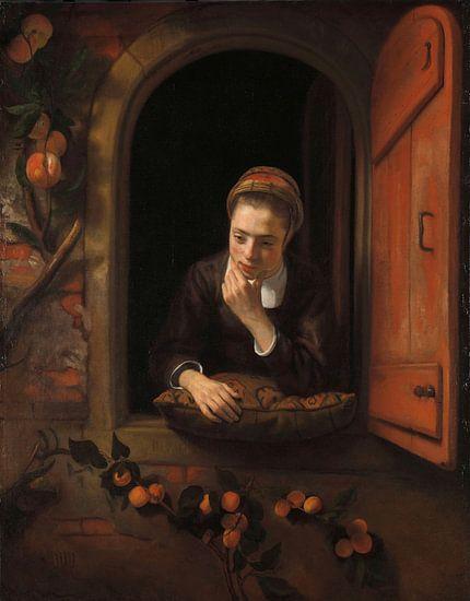 Meisje aan het venster, bekend als 'De peinzende', Nicolaes Maes van Meesterlijcke Meesters