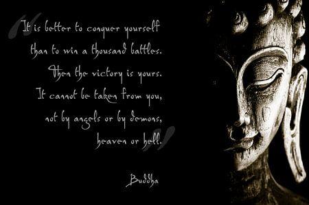 Buddha met inspirerende tekst