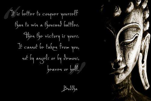 Buddha met inspirerende tekst van