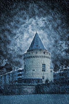 De Gevangentoren in de regen (Vlissingen) van Fotografie Jeronimo