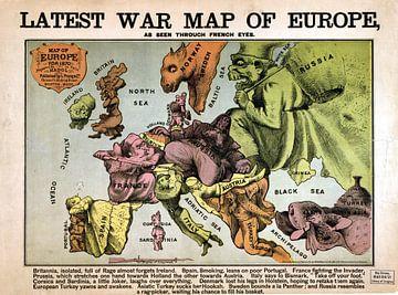 Humor met een kaart van Europa, 1870 van Atelier Liesjes