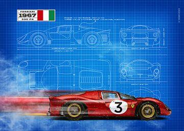 Ferrari 330 Blauwdruk van Theodor Decker