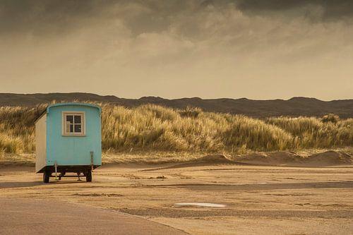 Caravan op parkeerplaats bij Paal 9 Texel van