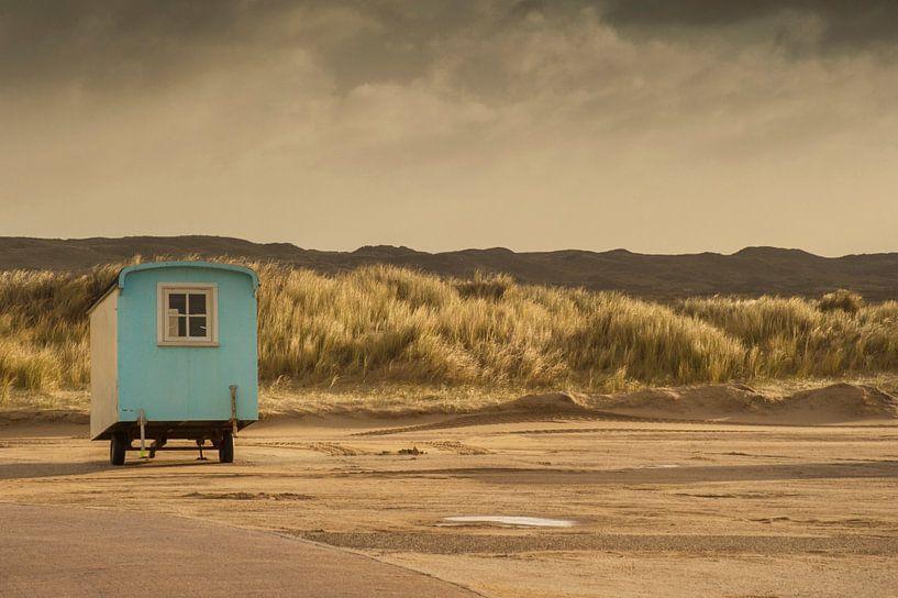 Caravan op parkeerplaats bij Paal 9 Texel van Margreet Frowijn