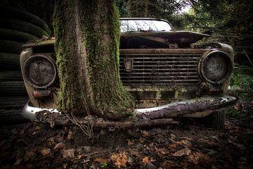 Lada met boom door bumper van Kelly van den Brande