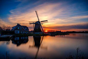 Zonsondergang Broekdijkmolen, Leiden von Eric van den Bandt