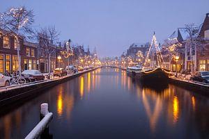Luttik Oudorp in Alkmaar tijdens een 'sneeuw(storm)' van