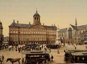 De Dam, Paleis op de Dam en Nieuwe Kerk, Amsterdam  van Vintage Afbeeldingen