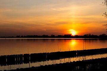 Roter Sonnenuntergang am Wasser von Vincent den Hollander