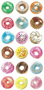 Poster met handgetekende donuts van Ivonne Wierink