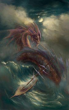 Serpent valt een zeilschip aan van Atelier Liesjes