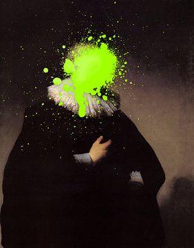 Rembrandt Portret van een Man met groene verf vlek