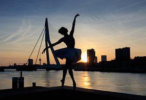 Dans bij zonsondergang in Rotterdam van