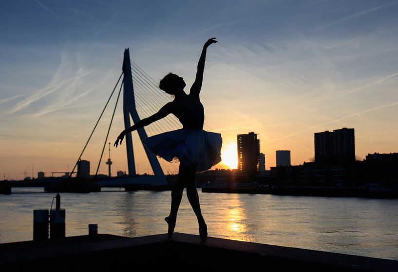 Dans bij zonsondergang in Rotterdam van Eddie Meijer