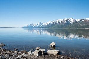 Weerspiegeling van de Teton Range van