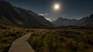 Pleine lune Mont Cook / Aoraki sur Pascal Sigrist - Landscape Photography