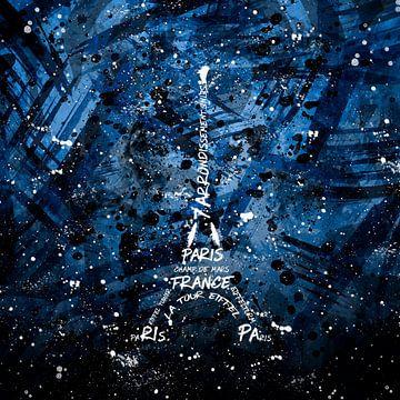 Digital-Art Eiffelturm   blau  von Melanie Viola