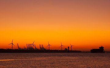 Sonnenuntergang Maasvlakte Rotterdam von Jessica Berendsen