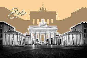 BERLIN Brandenburger Tor | Graphic Art | orange