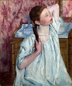 meisje haar, haar arrangerend, Mary Cassatt