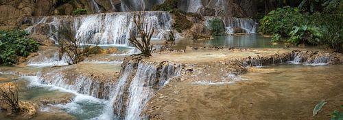 Panoramafoto van de Kuang Si Waterval, Laos