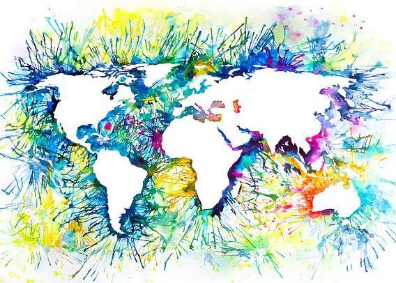 Abstracte Wereldkaart | Aquarel Schilderij