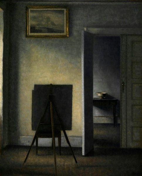 Innenraum mit der Künstlerstaffelei, Vilhelm Hammershøi von Meesterlijcke Meesters
