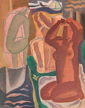 Twee badende vrouwen en een rugfiguur van Eigenwijze Fotografie