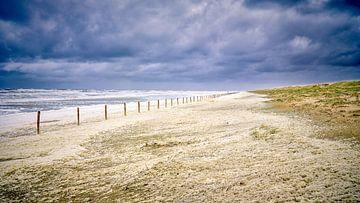 Storm langs de kust met duin, strand en de Noordzee van eric van der eijk