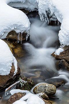 Fliessender Bach im Schnee von Wouter van Woensel
