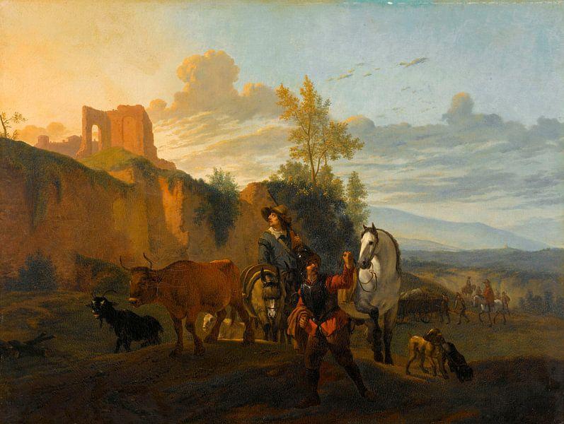Italienische Landschaft mit Soldaten, Karel du Jardin (Kopie nach) von Meesterlijcke Meesters