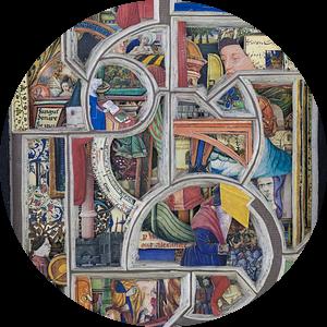 Boeksculptuur - Oud boek over de middeleeuwen, uitgesneden met een scalpel van Oscarving