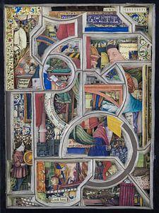Collage in kleur - abstract en kleurrijke afbeeldingen uit middeleeuws boek