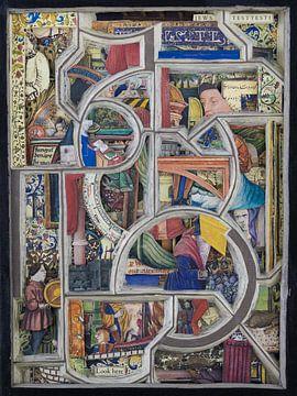 Collage in kleur - abstract en kleurrijke afbeeldingen uit middeleeuws boek van Oscarving