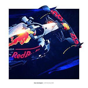 Artwork Max Verstappen Red Bull 2019 Vierkant van Nylz Race Art