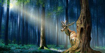 Der Hirsch im mystischen Wald von Monika Jüngling