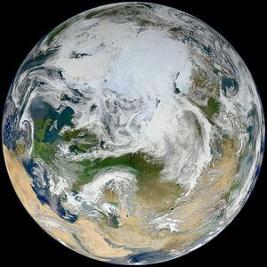 Vue du pôle Nord et de l'Europe
