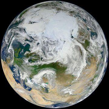 Blick auf den Nordpol und Europa von Natasja Tollenaar